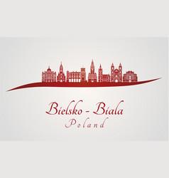 bielsko-biala skyline in red vector image