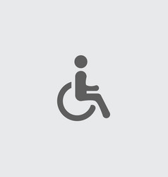Black flat disabled accessible man flat icon vector