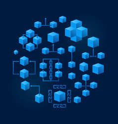 Blockchain technology round blue vector