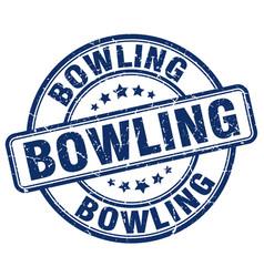 bowling blue grunge round vintage rubber stamp vector image