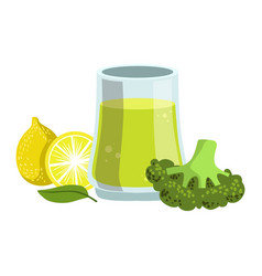 Broccoli and lemon smoothie non-alcoholic fresh vector