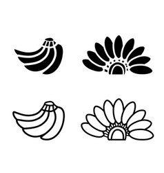 Bunch of bananas icon and logo in silhouette vector