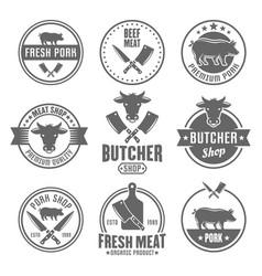butcher shop monochrome vintage emblems vector image
