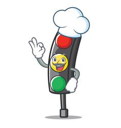 chef traffic light character cartoon vector image
