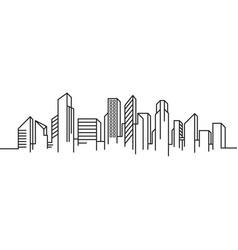 city building line art template vector image