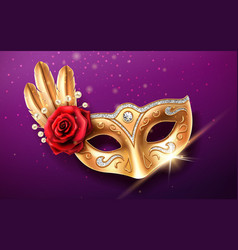 colombina mask with beads and feather rose flower vector image