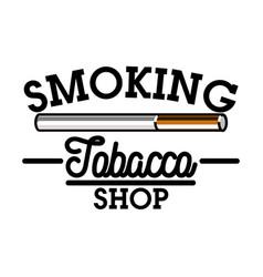 color vintage tobacco shop emblem vector image