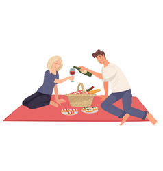 couple on picnic romantic date boyfriend and vector image