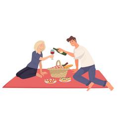 Couple on picnic romantic date boyfriend vector