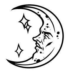crescent moon with male face and stars vector image