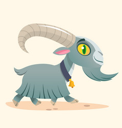 Cute cartoon goat running vector