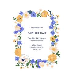 design wedding invitation with frame spring vector image