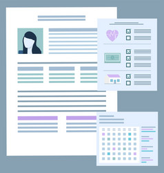 document with information and photo client vector image