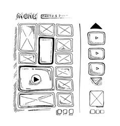 Doodle portfolio wireframe vector
