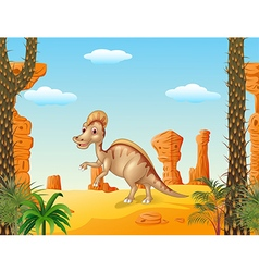 Duck billed hadrosaur in theprehistoric background vector