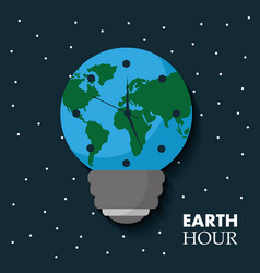 earth hour globe map bulb clock celebration annual vector image