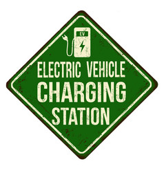 Electric car charging station vintage rusty metal vector