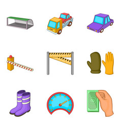 Evacuation of car icons set cartoon style vector