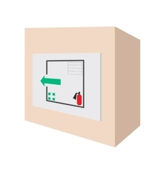 Evacuation plans and fire extinguishe cartoon icon vector