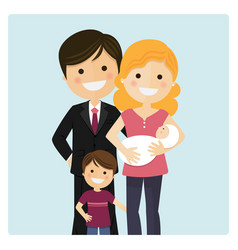 Family with a son and a newborn baby on blue vector