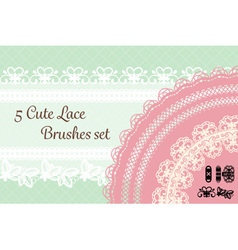 five cute lace brushes set with pastel background vector image