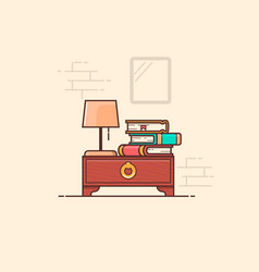 flat design book cabinet home library vector image
