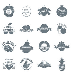 Fresh juice fruit logo icons set simple style vector