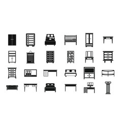 furniture icon set simple style vector image