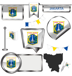 Glossy icons with flag of jakarta indonesia vector