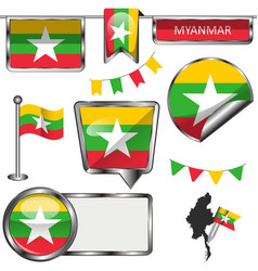 Glossy icons with flag of myanmar vector
