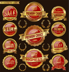 golden and red retro badges and labels collection vector image