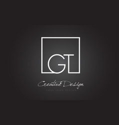 Gt square frame letter logo design with black and vector