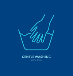 handwash icon gentle washing line sign flat logo vector image
