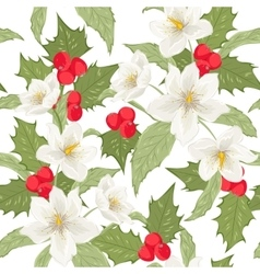 Holly berry mistletoe hellebore seamless pattern vector