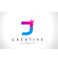 j letter logo with shattered broken blue pink vector image