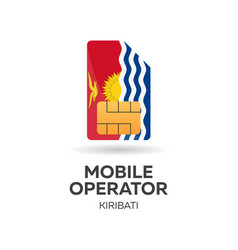 Kiribati mobile operator sim card with flag vector