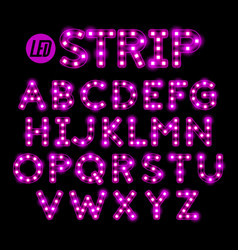 Led ribbon strip light alphabet vector