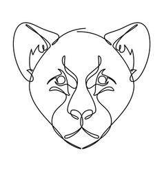 leopard cub continuous line graphic vector image