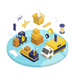 logistics isometric set vector image