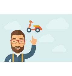 Man pointing the motorbike icon vector