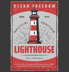 Marine seafarer navigation lighthouse retro poster vector
