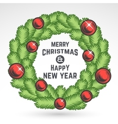 Merry Christmas green wreath design vector image