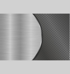 Metal brushed background with perforation vector