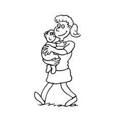 mother holding a baby outlined cartoon hand drawn vector image