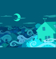 Night mist cartoon vector