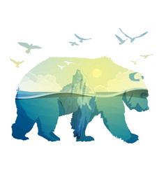 Polar bear global warming double exposure vector