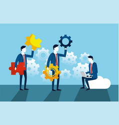 Professional businessmen with gears and puzzles vector