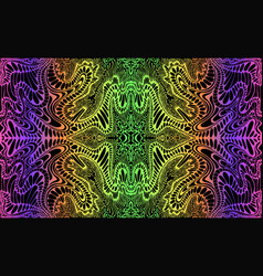 Psychedelic trippy colorful fractal mandala neon vector