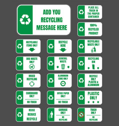 recycle labels set vector image