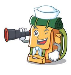 Sailor with binocular backpack mascot cartoon vector
